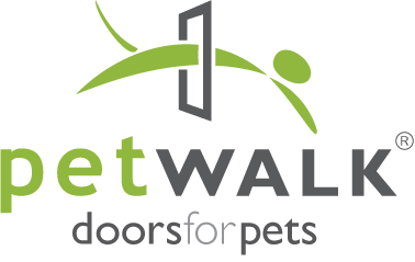 "green and grey graphic with the caption ""petWALK doors for pets"""