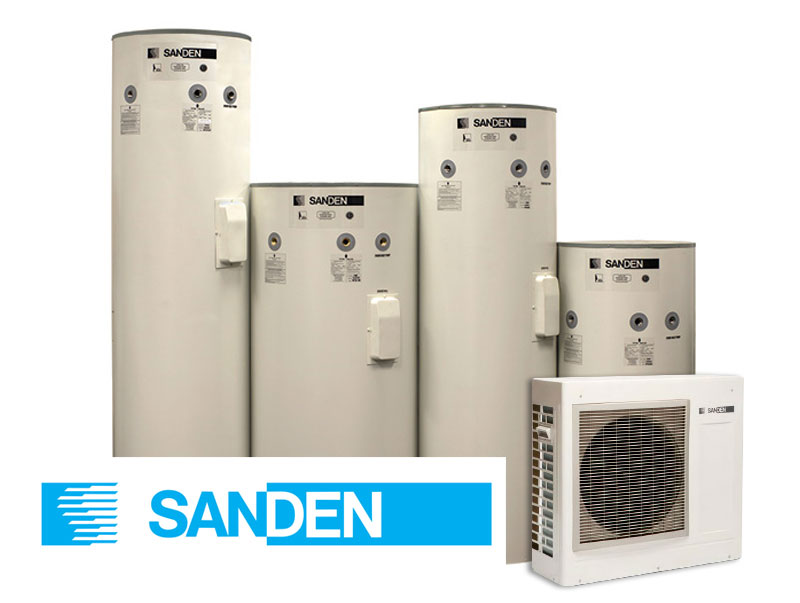 The 315L (tall/squat), 250L and 160L tanks, pictured with a heat pump and the SANDEN logo.