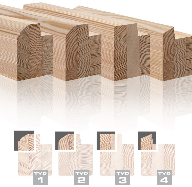 examples of timber profile cross sections: Type 1, 2, 3 & 4